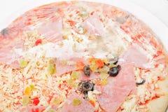 Half-opened frozen pizza Stock Image