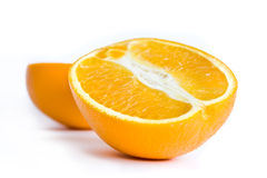 Half of orange. Photo of isolated on white two halfs of orange Royalty Free Stock Photos