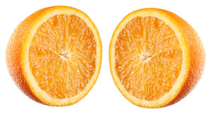 Half orange. Isolated on white royalty free stock photos
