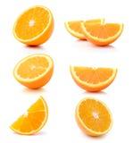 Half orange fruit on white background Royalty Free Stock Images