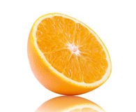 Half orange fruit on white background royalty free stock images