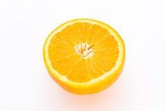 Half orange fruit. Half orange fruit on white background, fresh and juicy Royalty Free Stock Image