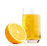 Half of A Orange with Glass of Lemonade. Isolated on a white Stock Image