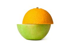 Half orange half apple Royalty Free Stock Image
