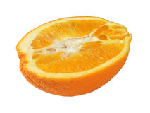 Half an orange. Half of orange isolated on white background royalty free stock photo