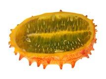 Half of orange kawani cucumber on white Stock Photos