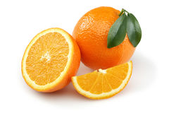 Half Orange and Orange Slice royalty free stock image