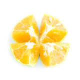 Half orange slice for four top view Royalty Free Stock Photography
