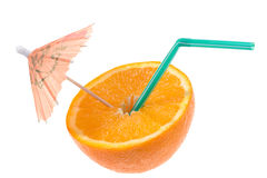 Half of orange with tube and umbrella Royalty Free Stock Photography