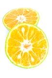 Half orange on white background Stock Photos