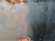 A Half Painted Sheet of Rust Texture Steel. Royalty Free Stock Image