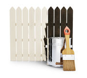 Half-painted wooden fence Stock Photo