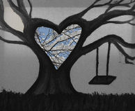 Half painting of a tree half picture. This was taken in west chester, and is half picture half drawing royalty free stock images