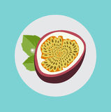 Half of passion fruit with leaves flat design Royalty Free Stock Photos