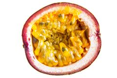 Half of Passion fruit on white background Royalty Free Stock Image