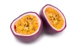 Half of passion fruits isolated on white background. Isolated maracuya royalty free stock photos