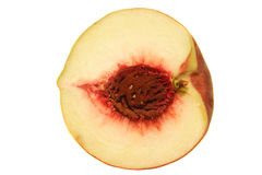 Half a Peach. With seed in it. Nice texture Stock Images