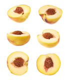 Half of a peach fruit isolated Royalty Free Stock Photography