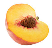 Half of peach isolated on the white background.  Royalty Free Stock Photography