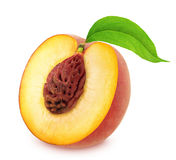 Half of Peach with Leaf Isolated on White Background Stock Photo