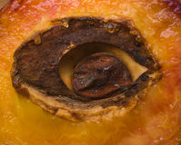 Half of peach with stone in shape of an eye Royalty Free Stock Photos