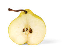 Half of pear. Half of yellow pear isolated on white background royalty free stock photography