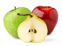 Half of pear and apples. Over white background stock photo
