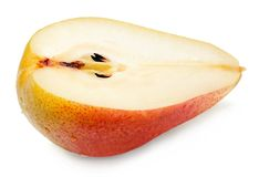 Half pear on white isolated background royalty free stock photography