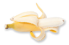 Half peeled banana Stock Image