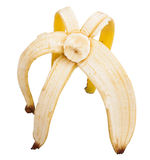 Half peeled banana Stock Images