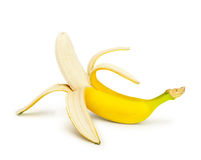 Half peeled banana. Isolated on a white background Royalty Free Stock Photography