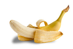 Half-peeled banana on white Royalty Free Stock Photo