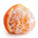 A half peeled mandarin. A half peeled mandarin isolated on white royalty free stock photography