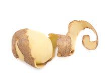 Half peeled potato isolated Royalty Free Stock Images