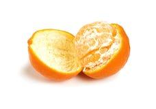 Half peeled tangerine Stock Photos
