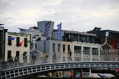 Half Penny bridge in Dublin, Temple Bar block Stock Photos