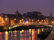 Half Penny Bridge By Night. Half Penny Bridge in Dublin, by Night Royalty Free Stock Photos