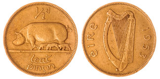 Half penny 1953 coin isolated on white background, Ireland Stock Images