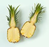 Half of pineapple. Fresh ripe half of pineapple, top view Royalty Free Stock Photography