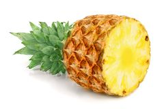 Half pineapple isolated on white background closeup.  Royalty Free Stock Photography
