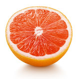 Half of pink grapefruit citrus fruit isolated on white Royalty Free Stock Photos