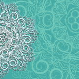 Half of pink snowflake on cyan background Royalty Free Stock Photo