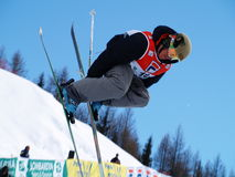 Half pipe ski freestyle Stock Photography