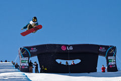 Half Pipe snowboard. Snowboard Junior World Championships, Half Pipe in Valmalenco Italy, March 2011 Stock Images