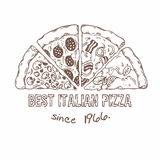 Half of pizza with different slices. Sketched vector illustration Stock Photography