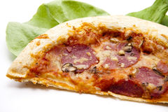 Half a pizza with salami Royalty Free Stock Photography