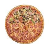 Half pizza. Tomato sauce, cheese mozzarella Royalty Free Stock Images