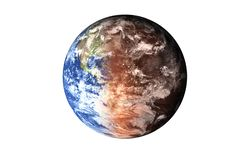 Half planet Earth with atmosphere with half Mars planet of solar system isolated on white background. Death of the planet. Elements of this image were royalty free illustration