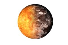Half planet Mars with atmosphere with half Venus planet of solar system isolated on white background. royalty free stock photos