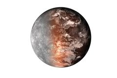 Half planet mars with atmosphere with half mercury planet of solar system isolated on white background. Death of the planet. Elements of this image were vector illustration